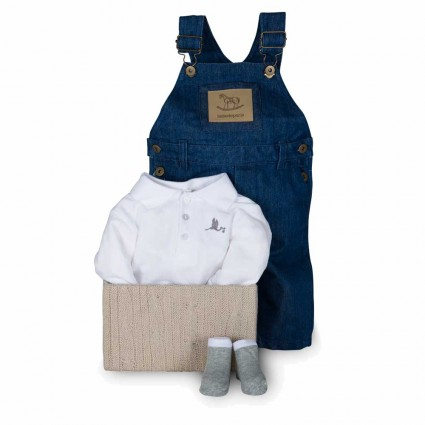 Newborn Baby Hamper & Baby Gift Baskets | BebedeParis South Africa Denim Dungarees Gift Set