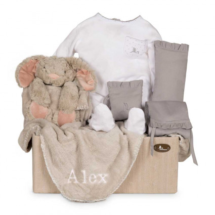 Newborn Baby Hamper & Baby Gift Baskets | BebedeParis South Africa Embroidered Rabbit Baby Hamper