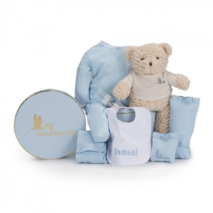 My Embroidered Bib Baby Hamper Blue