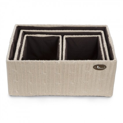 Woolen baskets set Beige